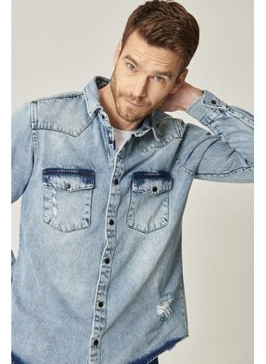 AC&Co / Altınyıldız Classics Tailored Slim Fit Dar Kesim %100 Koton Denim Kot Gömlek 4A2021100304 Mavi